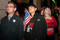 New York, NY -  1 May 2011 New Yorkers rally at Ground Zero to celebrate the death of Osama Bin Lade
