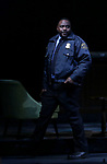 "Brian Tyree Henry taking his first performance curtain call bow for ""Lobby Hero"", marking Evans' Broadway debut and the inaugural performance at Second Stage's Hayes Theater on March 1, 2018 at The Hayes Theatre in New York City."