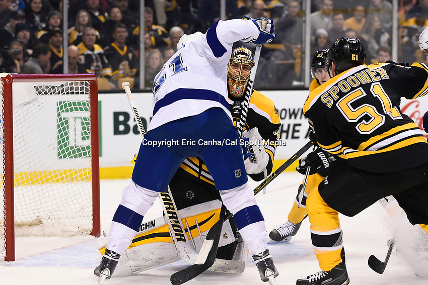 March 12, 2015 - Boston, Massachusetts, U.S. - Boston Bruins goalie Tuukka Rask (40) smiles behind his mask after making a glove save during the NHL match between the Tampa Bay Lightning and the Boston Bruins held at TD Garden in Boston Massachusetts. Eric Canha/CSM