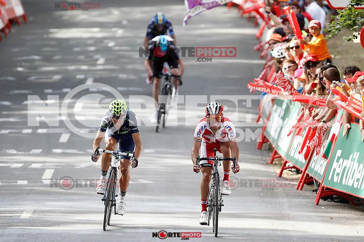 (L to R) Christopher Froom (c), Alberto Contador (t), Alejandro Valverde (l) and Joaquin Purito Rodriguez during the stage of La Vuelta 2012 between Faustino V and Eibar (Arrate).August 20,2012. (ALTERPHOTOS/Acero) /NortePhoto.com<br /> <br /> **CREDITO*OBLIGATORIO** <br /> *No*Venta*A*Terceros*<br /> *No*Sale*So*third*<br /> *** No Se Permite Hacer Archivo**<br /> *No*Sale*So*third*