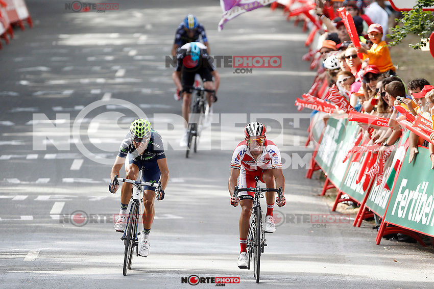 (L to R) Christopher Froom (c), Alberto Contador (t), Alejandro Valverde (l) and Joaquin Purito Rodriguez during the stage of La Vuelta 2012 between Faustino V and Eibar (Arrate).August 20,2012. (ALTERPHOTOS/Acero) /NortePhoto.com<br />