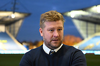 4th February 2020; Kassam Stadium, Oxford, Oxfordshire, England; English FA Cup Football; Oxford United versus Newcastle United; Karl Robinson Manager of Oxford is interviewed before kick off