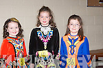 COSTUME: Clodagh McElligott (Lixnaw), Ruth Moore(Listowel) and Ellen O'Donoghue (Causeway)wearing their finest dance costume in the 14th Annaul Feis in Causeway Comprehensive School, on Sunday................... . ............................... ..........