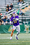 6 April 2019:  University at Albany Great Dane Midfielder Ron John, a Junior from Angola, NY, in action against the University of Vermont Catamounts at Virtue Field in Burlington, Vermont. The Cats rallied to defeat the Danes 10-9 in America East divisional play. Mandatory Credit: Ed Wolfstein Photo *** RAW (NEF) Image File Available ***