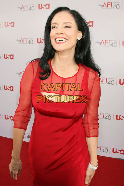 SONIA BRAGA.35th AFI Life Achievement Award Honoring Al Pacino held at the Kodak Theatre, Hollywood, California, USA..June 7th, 2007.half length sheer cleavage dress red .CAP/ADM/RE.©Russ Elliot/AdMedia/Capital Pictures