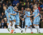 Ilkay Gundogan of Manchester City celebrates his goal with Raheem Sterling of Manchester City during the Champions League Group C match at the Etihad Stadium, Manchester. Picture date: November 1st, 2016. Pic Simon Bellis/Sportimage
