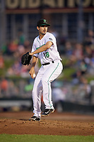 Dayton Dragons relief pitcher Aaron Fossas (18) delivers a pitch during a game against the Cedar Rapids Kernels on May 10, 2017 at Fifth Third Field in Dayton, Ohio.  Cedar Rapids defeated Dayton 6-5 in ten innings.  (Mike Janes/Four Seam Images)