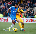 10.11.2019: Livingston v Rangers: Ricki Lamie tackles Alfredo Morelos in the box