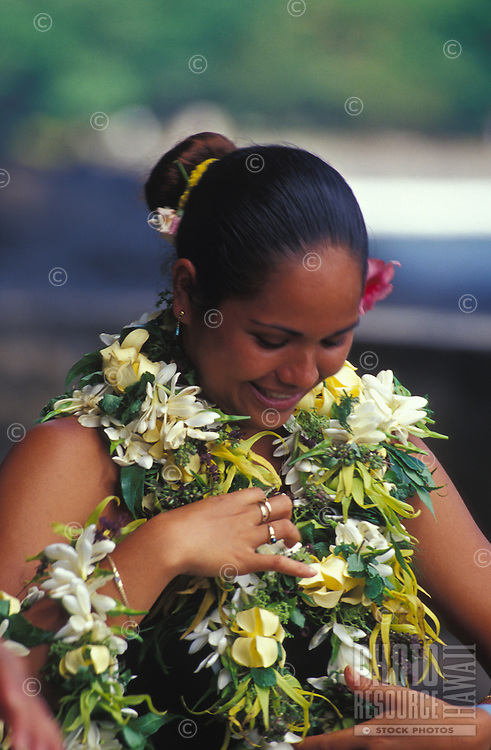 Polynesian woman decked out in flower leis, Fatu Hiva, Marquesas
