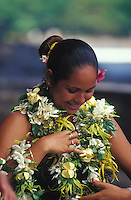Polynesian woman decked out in flower leis, Fatu Hiva, Marquesas