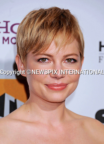 "MICHELLE WILLIAMS.attends the 15th Annual Hollywood Film Awards Gala Presented By Starz at the Beverly Hilton Hotel, Beverly Hills, Los Angeles_24/10/2011.Mandatory Photo Credit: ©Crosby/Newspix International. .**ALL FEES PAYABLE TO: ""NEWSPIX INTERNATIONAL""**..PHOTO CREDIT MANDATORY!!: NEWSPIX INTERNATIONAL(Failure to credit will incur a surcharge of 100% of reproduction fees).IMMEDIATE CONFIRMATION OF USAGE REQUIRED:.Newspix International, 31 Chinnery Hill, Bishop's Stortford, ENGLAND CM23 3PS.Tel:+441279 324672  ; Fax: +441279656877.Mobile:  0777568 1153.e-mail: info@newspixinternational.co.uk"