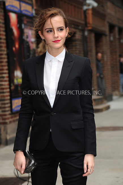 WWW.ACEPIXS.COM <br /> March 25, 2014 New York City:<br /> <br /> Emma Watson arriving to tape an appearance on the Late Show with David Letterman on March 25, 2014 in New York City.<br /> <br /> Please byline: Kristin Callahan  <br /> <br /> ACEPIXS.COM<br /> Ace Pictures, Inc<br /> tel: (212) 243 8787 or (646) 769 0430<br /> e-mail: info@acepixs.com<br /> web: http://www.acepixs.com