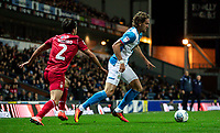 Blackburn Rovers' Sam Gallagher competing with Nottingham Forest's Yuri Ribeiro (left) <br /> <br /> Photographer Andrew Kearns/CameraSport<br /> <br /> The EFL Sky Bet Championship - Blackburn Rovers v Nottingham Forest - Tuesday 1st October 2019  - Ewood Park - Blackburn<br /> <br /> World Copyright © 2019 CameraSport. All rights reserved. 43 Linden Ave. Countesthorpe. Leicester. England. LE8 5PG - Tel: +44 (0) 116 277 4147 - admin@camerasport.com - www.camerasport.com