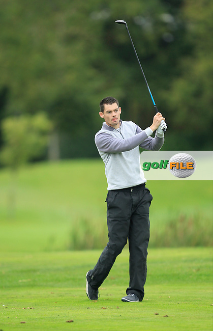 David Reilly (Westmanstown G.C) on the 15th tee during Round 3 of The Cassidy Golf 103rd Irish PGA Championship in Roganstown Golf Club on Saturday 12th October 2013.<br /> Picture:  Thos Caffrey / www.golffile.ie