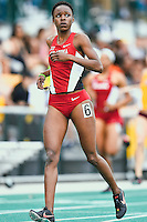 Daye Shon Roberson of Oklahoma reacts after competing on 400 Meter dash during Baylor Invitational track meet, Friday, April 03, 2015 in Waco, Tex. (Mo Khursheed/TFV Media via AP Images)