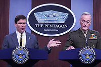 Washington, DC - August 28, 2019: Defense Secretary Mark Esper and Gen. Joseph Dunford, Chairman of the Joint Chiefs of Staff, hold a press briefing at the Pentagon in Washington D.C. August 28, 2019. (Photo by Lenin Nolly/Media Images International)