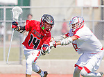 Palos Verdes, CA 03/26/16 - Brendan Wilson (San Clemente #14) and John Gressett (Palos Verdes #8) in action during the CIF Boys Lacrosse game between San Clemente Tritons and the Palos Verdes Seakings at Palos Verdes High School.  Palos Verdes defeated San Clemente 11-6