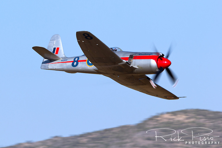 """Unlimted Air Racer """"Dreadnought"""" in flight during the 2013 National Championship Air Races in Reno, Nevada.`"""
