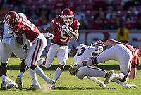 NWA Democrat-Gazette/BEN GOFF @NWABENGOFF<br /> Rakeem Boyd, Arkansas running back, finds an opening to run 52 yards for a touchdown in the second quarter vs Mississippi State Saturday, Nov. 2, 2019, at Reynolds Razorback Stadium in Fayetteville.