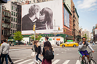 A billboard advertising the Calvin Klein brand in the Soho neighborhood of New York on Saturday, April 6, 2017. Klein's advertisements use sex and provocative images to test society's cultural and moral boundaries. (© Richard B. Levine)