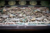 Kyoto: Carved Panel of Birds over entrance to Ninomaru Palace, Nijo Castle. Photo '81.