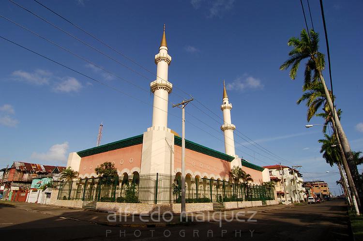 Islamic Cultural Center building. Colon City, Colon province, Panama, Central America.