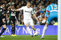 18.02.2012 SPAIN -  La Liga matchday 24th  match played between Real Madrid vs Racing (4-0) at Santiago Bernabeu stadium. The picture show Karim Benzema (French Forward of Real Madrid) and Antonio Rodriguez Martinez (goalkeeper of Racing de Santander)