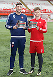 Martin Canning and David Templeton with manager and player of the month awards