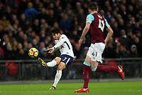 Son Heung-Min of Tottenham and Declan Rice of West Ham United during Tottenham Hotspur vs West Ham United, Premier League Football at Wembley Stadium on 4th January 2018