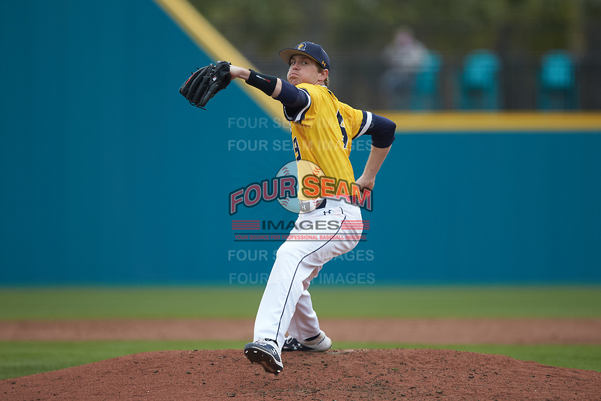 UNCG Spartans relief pitcher Phillip Sanderson (9) in action against the San Diego State Aztecs at Springs Brooks Stadium on February 16, 2020 in Conway, South Carolina. The Spartans defeated the Aztecs 11-4.  (Brian Westerholt/Four Seam Images)