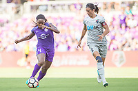 Orlando, FL - Sunday May 14, 2017: Jamia Fields, Abby Erceg during a regular season National Women's Soccer League (NWSL) match between the Orlando Pride and the North Carolina Courage at Orlando City Stadium.