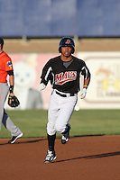 Luis Marte (16) of the High Desert Mavericks runs the bases during a game against the Inland Empire 66ers at Mavericks Stadium on May 6, 2015 in Adelanto, California. Inland Empire defeated High Desert, 10-4. (Larry Goren/Four Seam Images)
