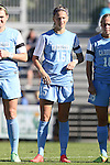 19 October 2014: North Carolina's Katie Bowen (NZL). The Duke University Blue Devils hosted the University of North Carolina Tar Heels at Koskinen Stadium in Durham, North Carolina in a 2014 NCAA Division I Women's Soccer match. North Carolina won the game 3-0.