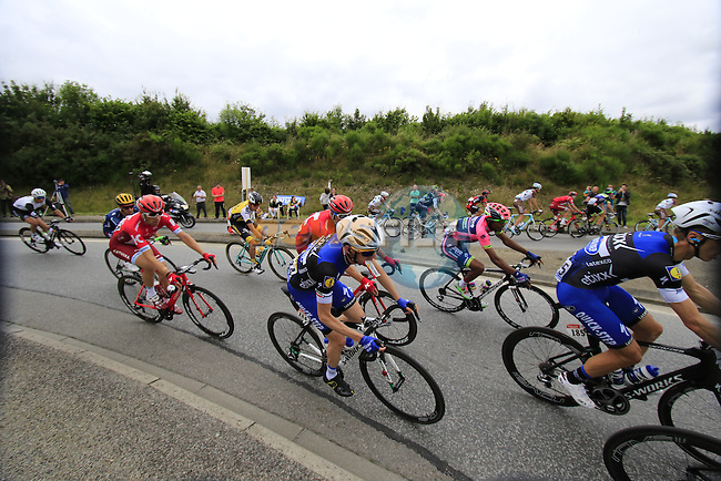 Riders including Tony Martin (GER) and Dan Martin (IRL) Etixx-Quick Step pass through Segre during Stage 3 of the 2016 Tour de France, running 223.5km from Granville to Angers, France . 4th July 2016.<br /> Picture: Eoin Clarke | Newsfile<br /> <br /> <br /> All photos usage must carry mandatory copyright credit (&copy; Newsfile | Eoin Clarke)