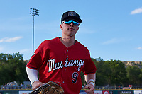 Billings Mustangs left fielder Cash Case (9) jogs off the field before a Pioneer League game against the Grand Junction Rockies at Dehler Park on August 15, 2019 in Billings, Montana. Billings defeated Grand Junction 11-2. (Zachary Lucy/Four Seam Images)