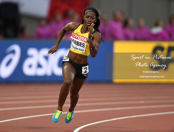 SashaleeFORBES (JAM) in the womens 200m heats. IAAF world athletics championships. London Olympic stadium. Queen Elizabeth Olympic park. Stratford. London. UK. 08/08/2017. ~ MANDATORY CREDIT Garry Bowden/SIPPA - NO UNAUTHORISED USE - +44 7837 394578