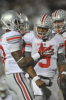 27 October 2012:  Ohio State QB Braxton Miller (5) yells and celebrates after his 3rd quarter rushing touchdown. The Ohio State Buckeyes defeated the Penn State Nittany Lions 35-23 at Beaver Stadium in State College, PA.