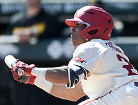 NWA Democrat-Gazette/CHARLIE KAIJO Arkansas Razorbacks outfielder Christian Franklin (25) bunts during a baseball game, Sunday, March 17, 2019 at Baum-Walker Stadium in Fayetteville.