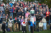Packed gallery watching and awaiting the drama of the leaders to unfold during the Final Round of the British Masters 2015 supported by SkySports played on the Marquess Course at Woburn Golf Club, Little Brickhill, Milton Keynes, England.  11/10/2015. Picture: Golffile | David Lloyd<br /> <br /> All photos usage must carry mandatory copyright credit (&copy; Golffile | David Lloyd)