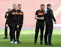 Blackpool U18's players inspecting the pitch before the match<br /> <br /> Photographer Andrew Kearns/CameraSport<br /> <br /> Emirates FA Youth Cup Semi- Final Second Leg - Arsenal U18 v Blackpool U18 - Monday 16th April 2018 - Emirates Stadium - London<br />  <br /> World Copyright &copy; 2018 CameraSport. All rights reserved. 43 Linden Ave. Countesthorpe. Leicester. England. LE8 5PG - Tel: +44 (0) 116 277 4147 - admin@camerasport.com - www.camerasport.com