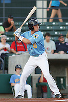 Myrtle Beach Pelicans outfielder Ryan Strausborger  (#6) at bat during a game vs. the Potomac Nationals at BB&T Coastal Field in Myrtle Beach, SC on April 25, 2011.   Photo By Robert Gurganus/Four Seam Images