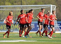 Atlanta Beat team warming up pre-game for their first match against Independence.  Philadelphia Independence Inaugural match, John A. Farrell Stadium, West Chester, PA.  April 11, 2010. Atlanta 0, Philadelphia 0.
