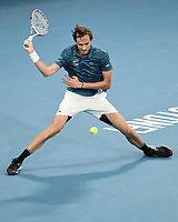 11th January 2020; Sydney Olympic Park Tennis Centre, Sydney, New South Wales, Australia; ATP Cup Australia, Sydney, Day 9; Serbia versus Russia;  Novak Djokovic versus Daniil Medvedev; Daniil Medvedev of Russia hits a forehand slice to Novak Djokovic of Serbia - Editorial Use