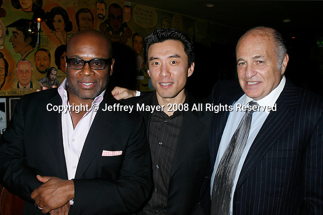 "WEST HOLLYWOOD, CA. - February 08: Antonio ""L.A."" Reid, President/CEO of Arista Records, David Eun, V.P. Google of Content Patnerships and Doug Morris, Chairman and CEO of Universal Music Group attend the Universal Music Group Chairman Doug Morris' Grammy Awards Viewing Dinner at The Palm on February 8, 2009 in West Hollywood, California."