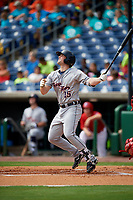 Lakeland Flying Tigers designated hitter Will Allen (15) follows through on a swing during the first game of a doubleheader against the Clearwater Threshers on June 14, 2017 at Spectrum Field in Clearwater, Florida.  Lakeland defeated Clearwater 5-1.  (Mike Janes/Four Seam Images)