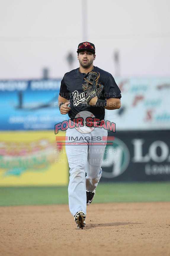 Zach Nehrir (20) of the Visalia Rawhide runs in from the field during a game against the Lancaster JetHawks at The Hanger on July 6, 2016 in Lancaster, California. Lancaster defeated Visalia, 10-7. (Larry Goren/Four Seam Images)