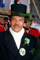 File Photo - Montreal Mayor Jean Dore on Saint-Patrick day  in  the eighties.<br /> Dore has been told he as a terminal pancreas cancer and 3 weeks to live , this September 2014.<br /> <br /> File Photo : Agence Quebec Pressse  - Pierre Roussel