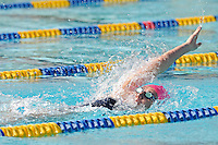 5 November 2011:  FIU's Elly James competes in the 200 yard backstroke as the FIU Golden Panthers won the meet with the Florida Atlantic University Owls and Florida Southern Moccasins at the Biscayne Bay Campus Aquatics Center in Miami, Florida.