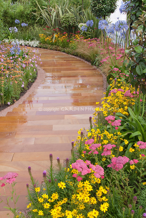 Garden Path for Curb Appeal Plant Flower Stock