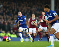 26th December 2019; Goodison Park, Liverpool, Merseyside, England; English Premier League Football, Everton versus Burnley; Bernard of Everton races forward with the ball - Strictly Editorial Use Only. No use with unauthorized audio, video, data, fixture lists, club/league logos or 'live' services. Online in-match use limited to 120 images, no video emulation. No use in betting, games or single club/league/player publications